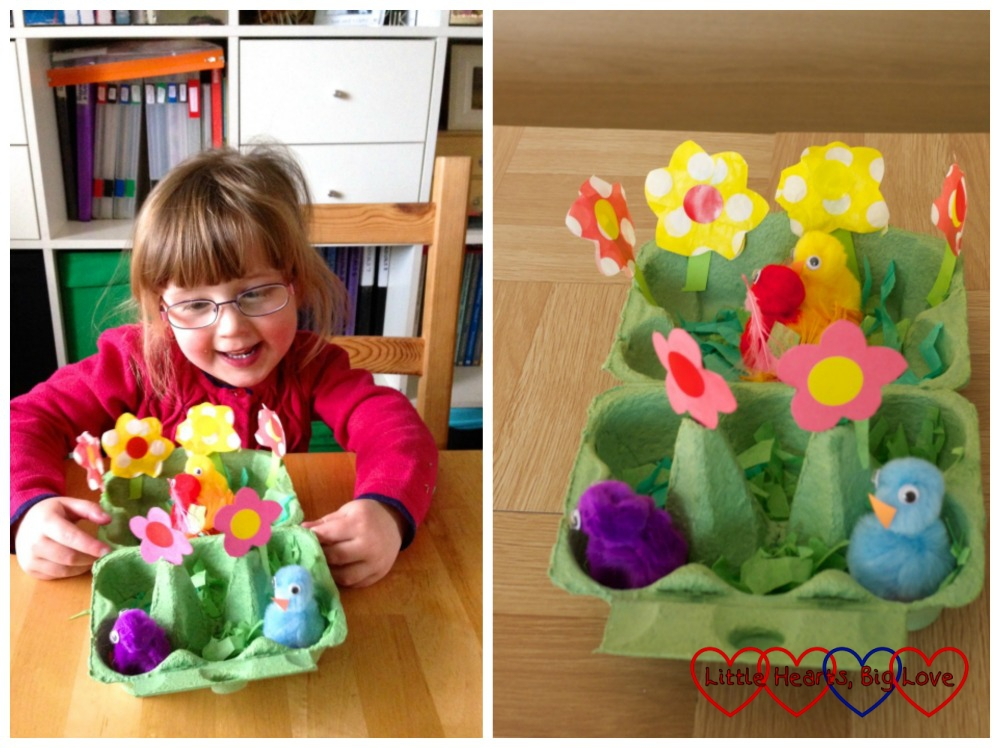 Jessica with her egg box spring flower garden and a close up of the egg box spring flower garden