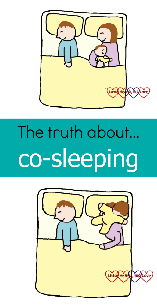 "A cartoon of the holy grain of co-sleeping (a baby snuggled up close) and the reality - a baby lying across your head - with the text ""The truth about... co-sleeping"""