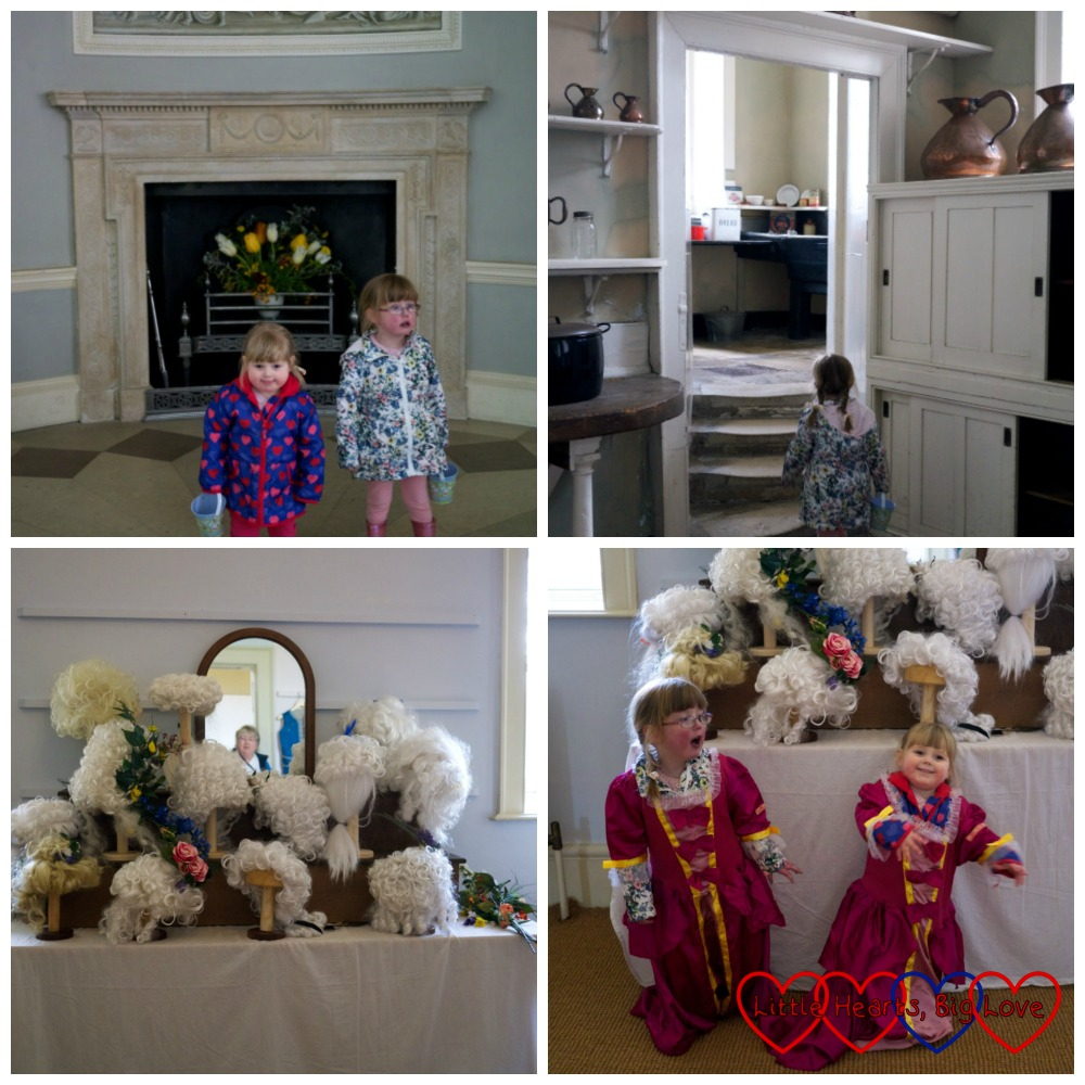"Exploring the servants' quarters and dressing up as ""princesses"" in the wigs and bums room at Osterley Park"