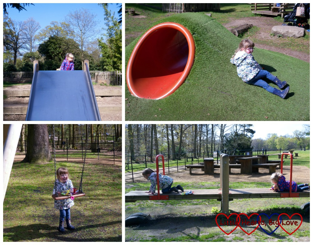 Having fun in the playground at Langley Park