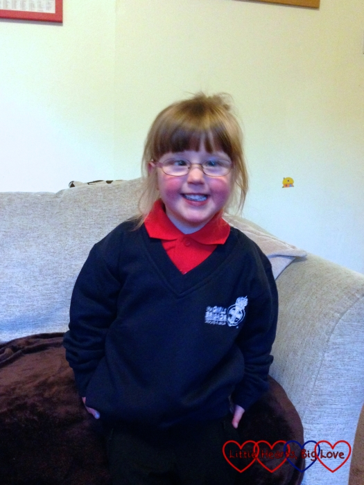 A very excited Jessica in her Girls' Brigade uniform