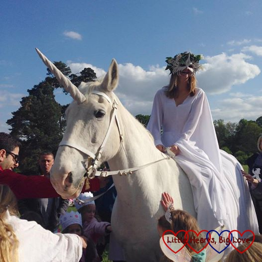 Seeing a unicorn at the Enchanted Museum event at Chiltern Open Air Museum