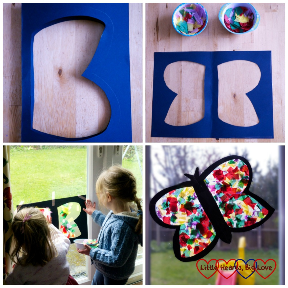 Tissue paper butterfly - making a butterfly using tissue paper and sticky-back plastic