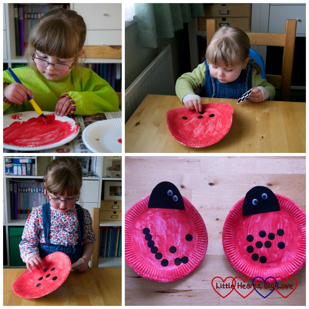 Making ladybirds using paper plates