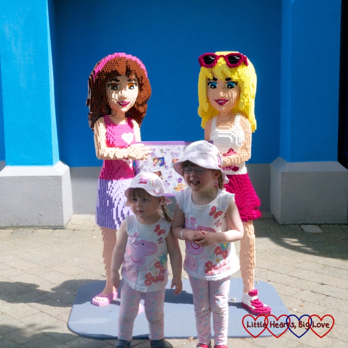 Posing with the Lego Friends on a day out at Legoland