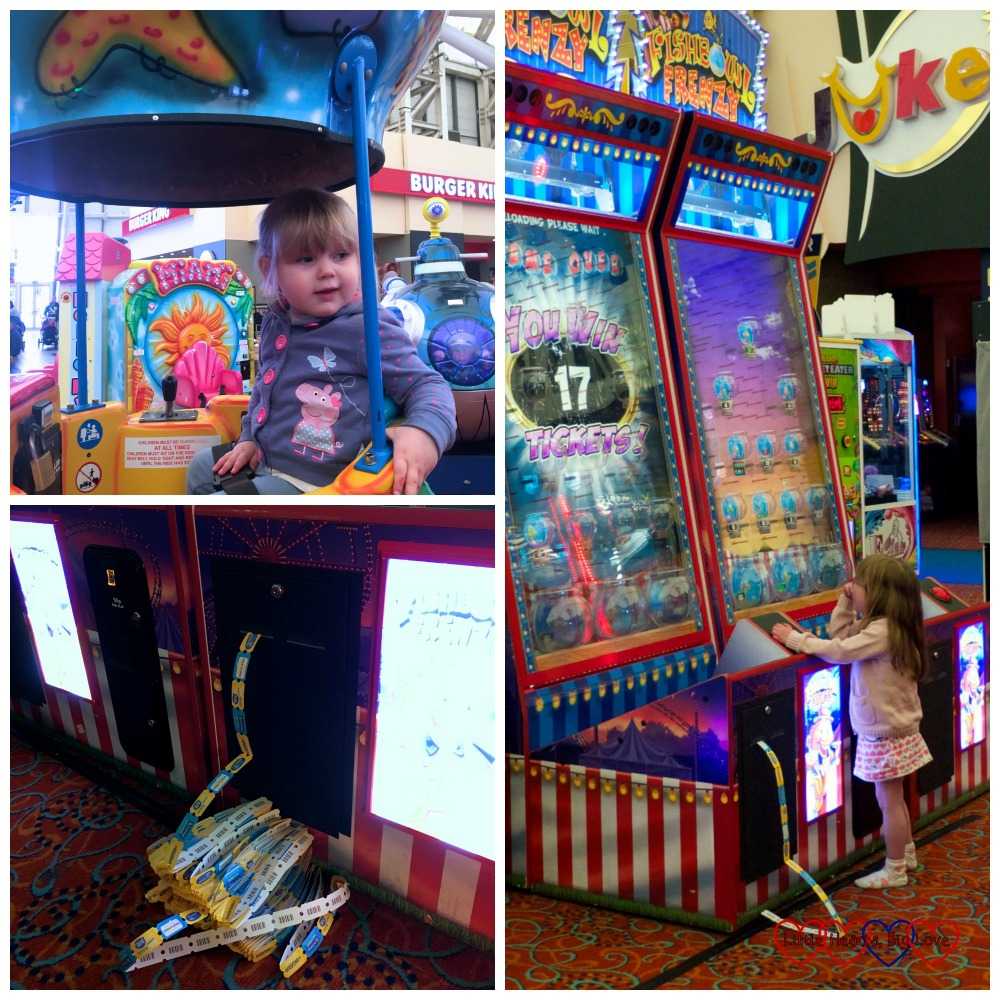 Having fun in the arcade at Butlins