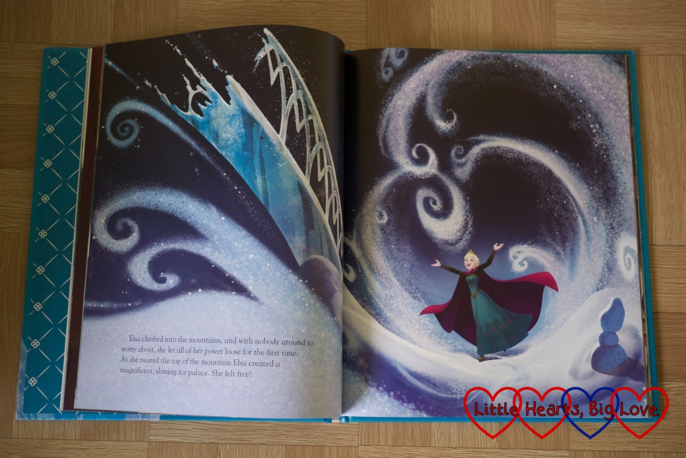 The iconic scene from Frozen where Elsa lets it go shown in the book from Parragon Book's Disney Movies Collection
