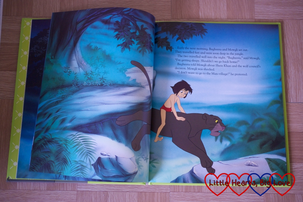 Bagheera takes Mowgli back to the Man-Village - a couple of pages from The Jungle Book