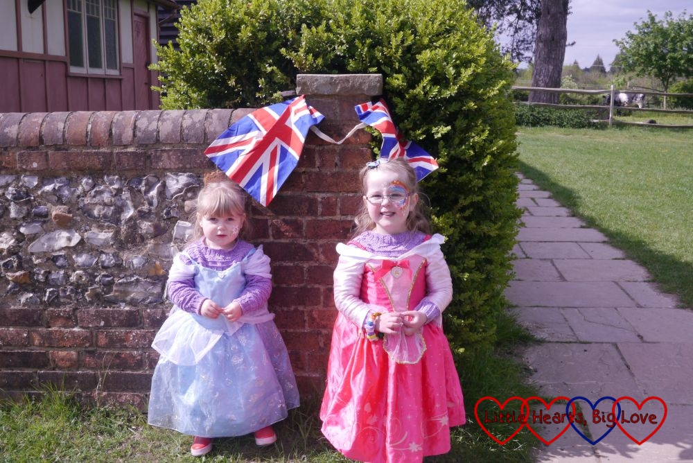 Two little princesses with their face painted