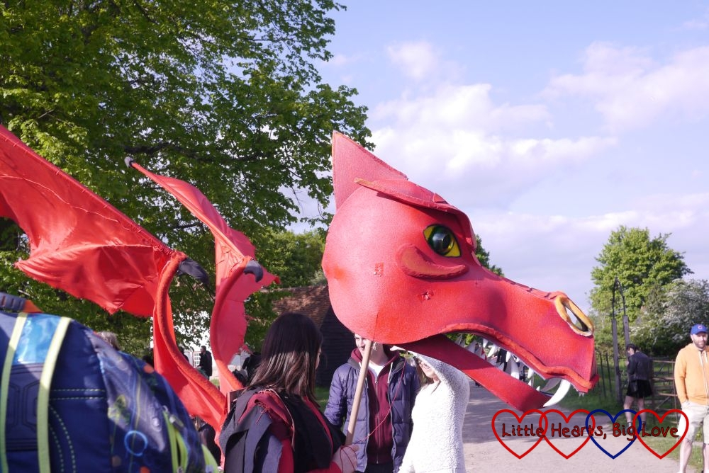A red dragon on the village green