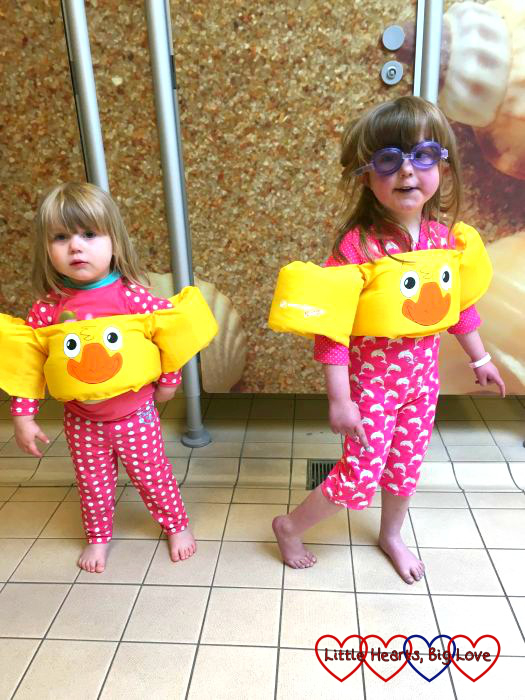 The girls in their Duck Puddle Jumpers swimming aids ready for the pool