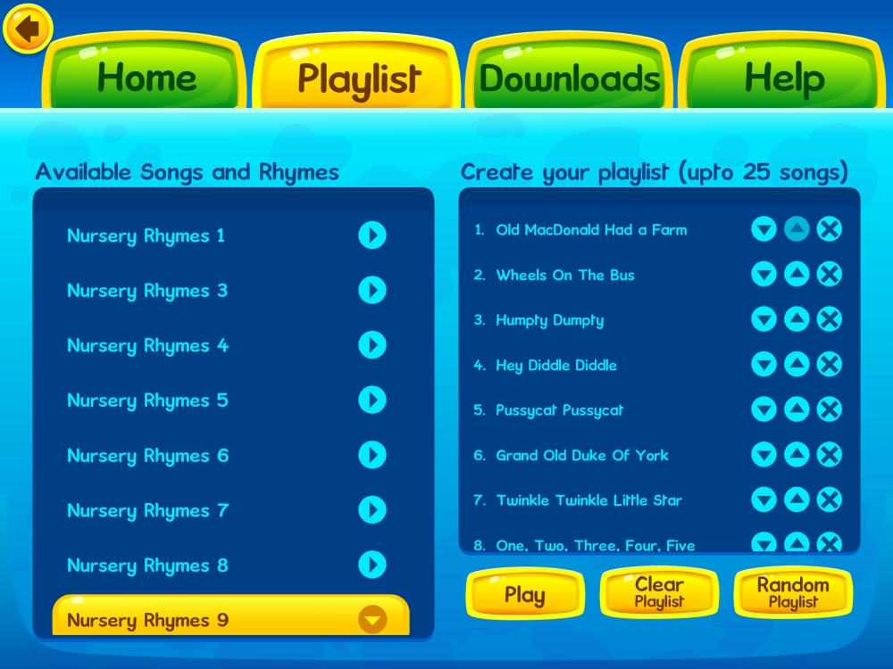 Creating a playlist on the Kidloland app