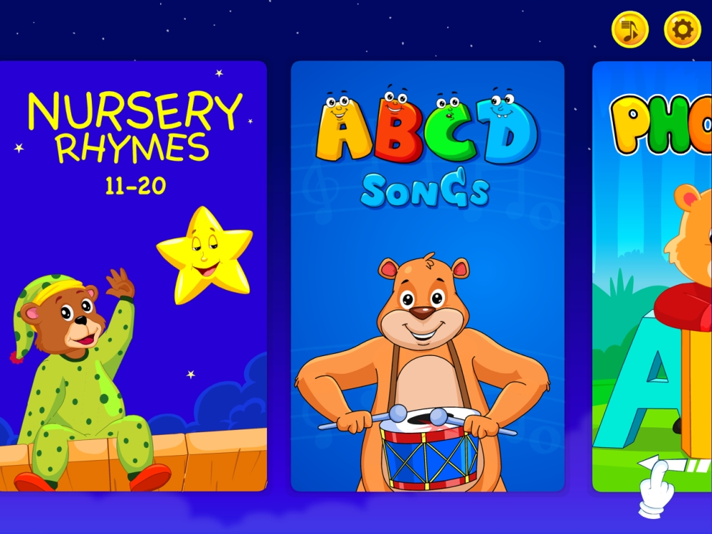 Nursery rhymes, ABCD songs and phonics - some of the categories available on the Kidloland app