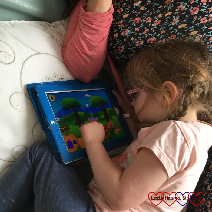 Jessica enjoying the nursery rhymes on the Kidloland app