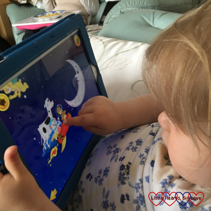 Sophie enjoying the nursery rhymes on the Kidloland app