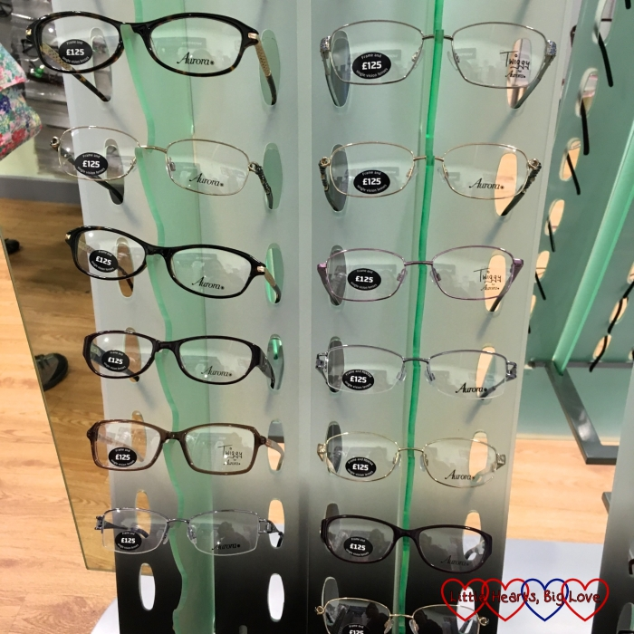Some of the range of different frames on offer at Specsavers