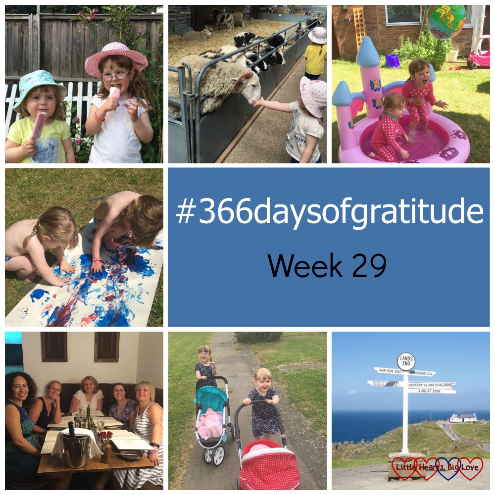 Ice lollies, a day out at Odds Farm Park, paddling pools, footprint painting, a night out with midwife friends, going for a walk with the dolls prams and planning a Lands End to John O'Groats challenge - the things I've been thankful for this week