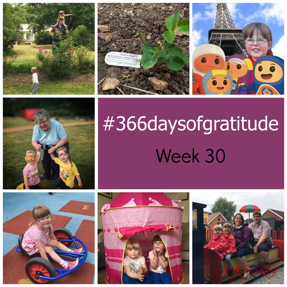 Fun in Grandma's garden, finding Sophy's Rose, photo editing to recreate a souvenir selfie, time with Grandma at fun in the park, outdoor play in hospital, play tents and a family day out at Bekonscot - the things I've been grateful for this week