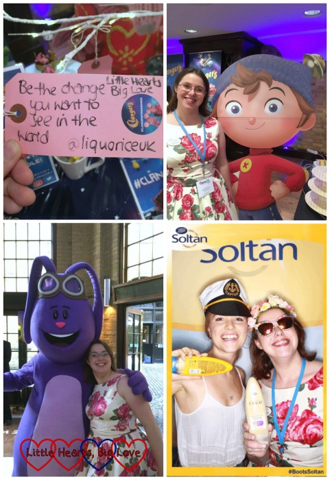 Meeting brands at #BML16 including The Clangers, Noddy, Mim-Mim from Kate and Mim-Mim and posing for photos with Sarah from Boots Soltan