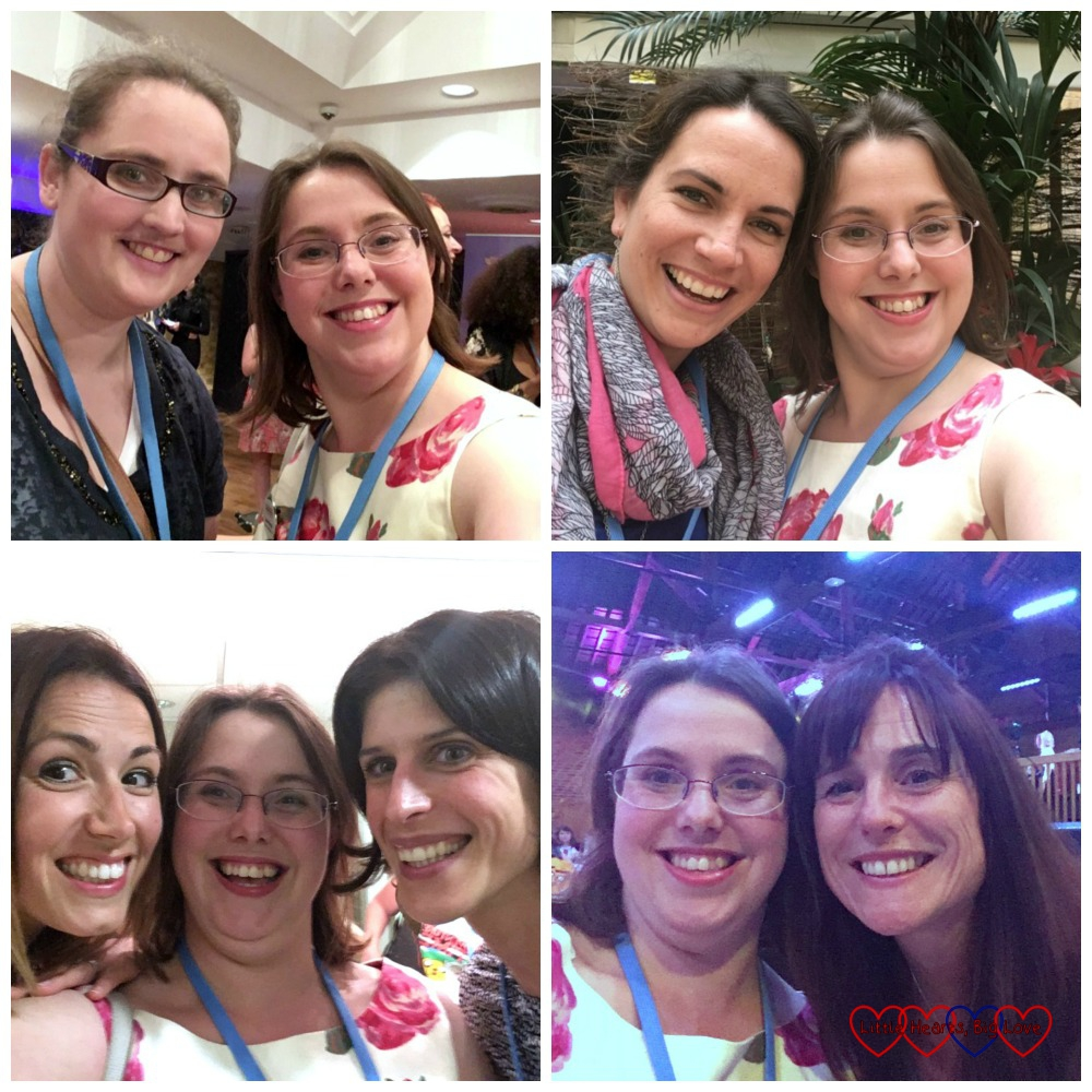 Meeting up with blogging friends at #BML16 - including Angela from Days in Bed, Mel from Le Coin de Mel, Talya from Motherhood: The Real Deal and Fiona from Coombe Mill