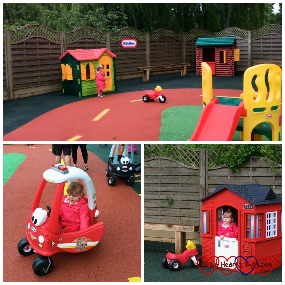 A trio of photos showing the Little Tikes playground at Beale Park; Sophie riding a red Little Tikes car and Sophie inside a red Little Tikes playhouse with a white door