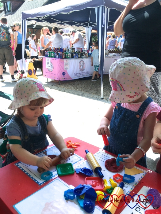Playing with playdough at one of the stalls at the Friends of PICU family fun day