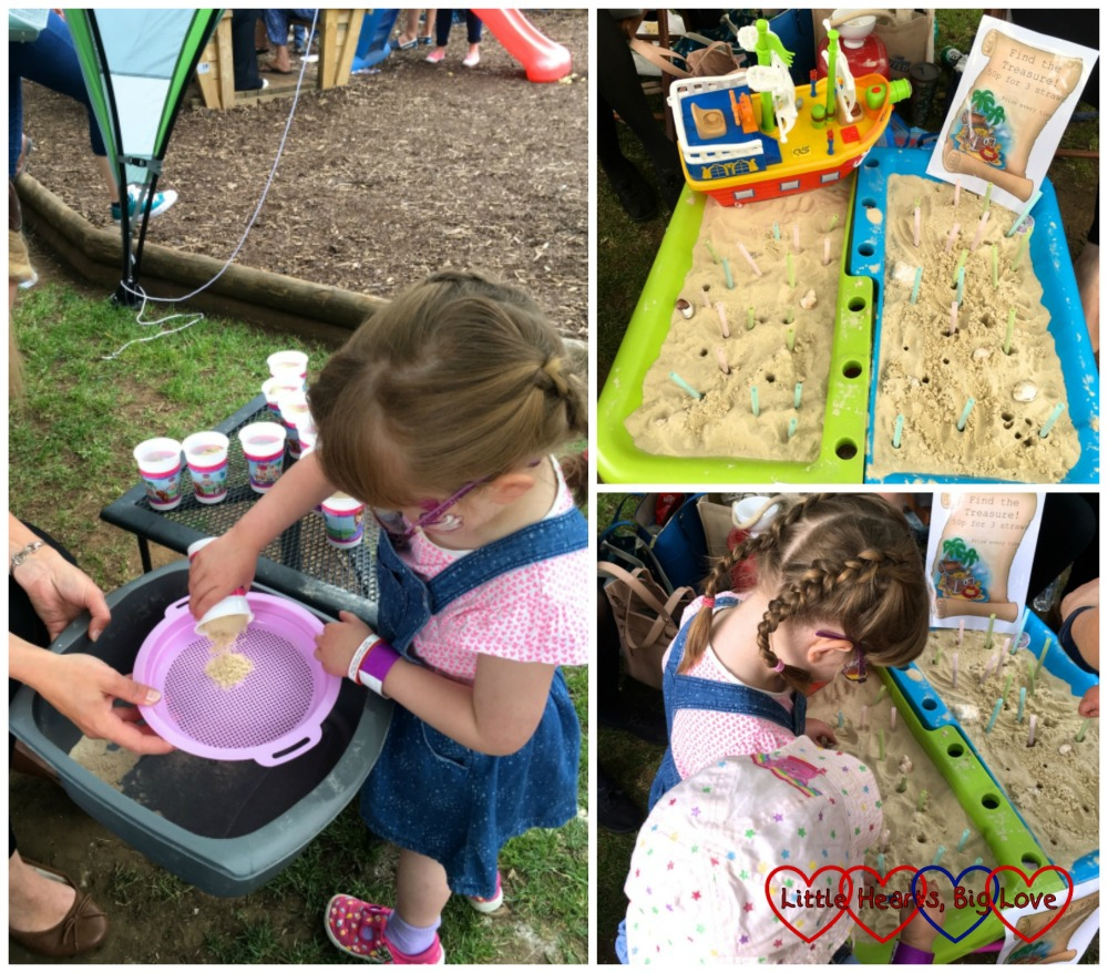 Jessica sifting through sand to find toy animals, the sand box with buried treasure and Jessica and Sophie pulling up straws to find the treasure