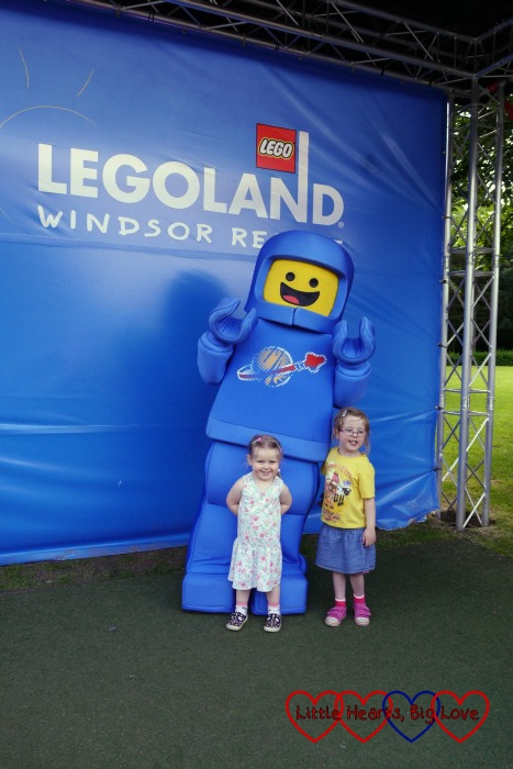 My girls with a Lego Spaceman at Legoland