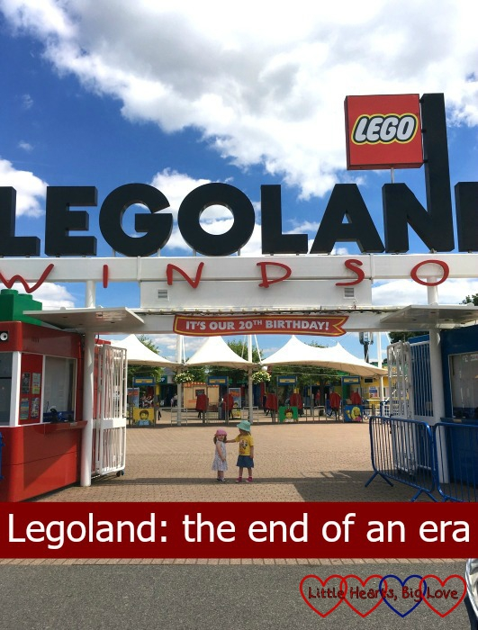 The girls standing outside the entrance to Legoland and the title Legoland: the end of an era