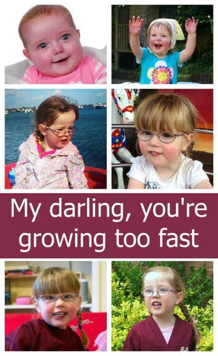 "Photos of Jessica from babyhood through to toddler and preschool days with the text ""My darling, you're growing too fast"""