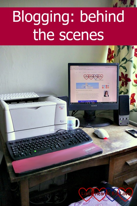 """My desk and computer where I blog with the text """"Blogging: behind the scenes"""""""
