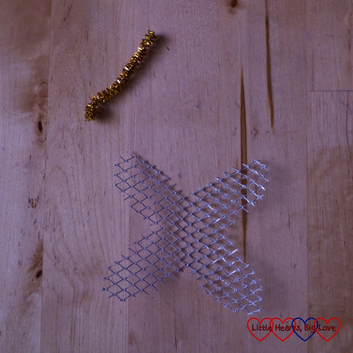 Sparkly wings and a crown ready to be attached to a clothes peg doll
