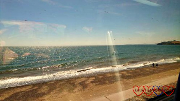 The view from the train along the coast near Dawlish