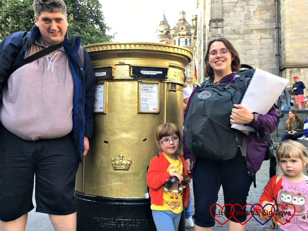 Hubby, me and the girls standing in front of one of Chris Hoy's gold postboxes in Edinburgh