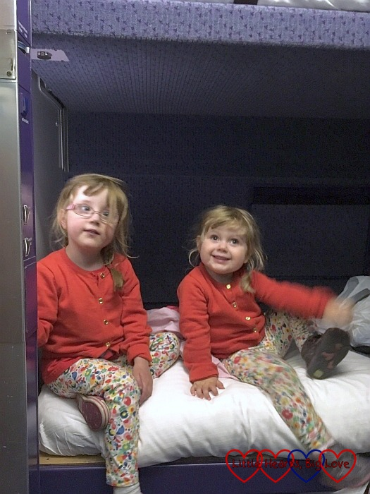 Jessica and Sophie in our berth on the Caledonian Sleeper