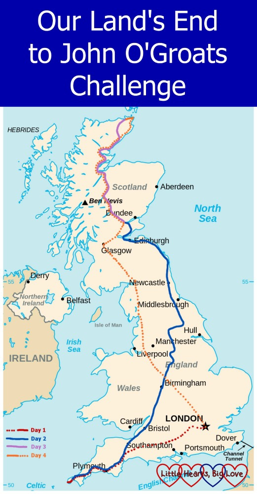 "A map showing the route we will be taking to travel from Land's End to John O'Groats using public transport with the header ""Our Land's End to John O'Groats Challenge"""