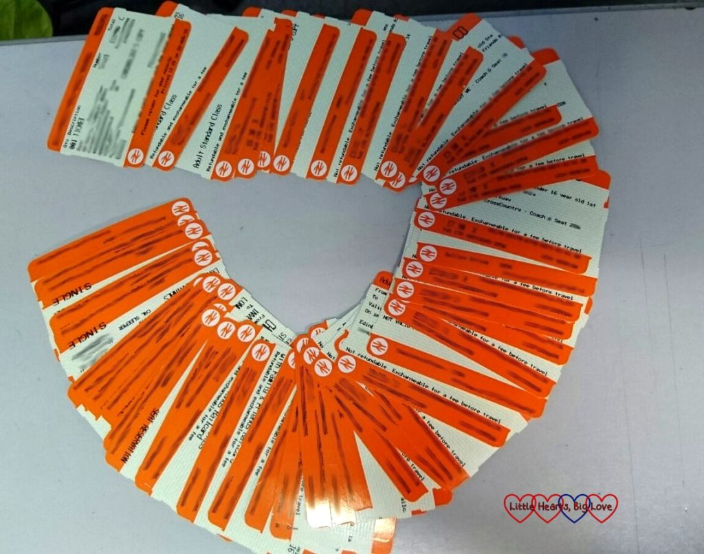 Our train tickets for the journey