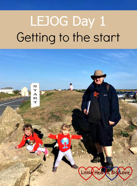 Hubby, Jessica and Sophie at the starting point for the Land's End to John O'Groats challenge