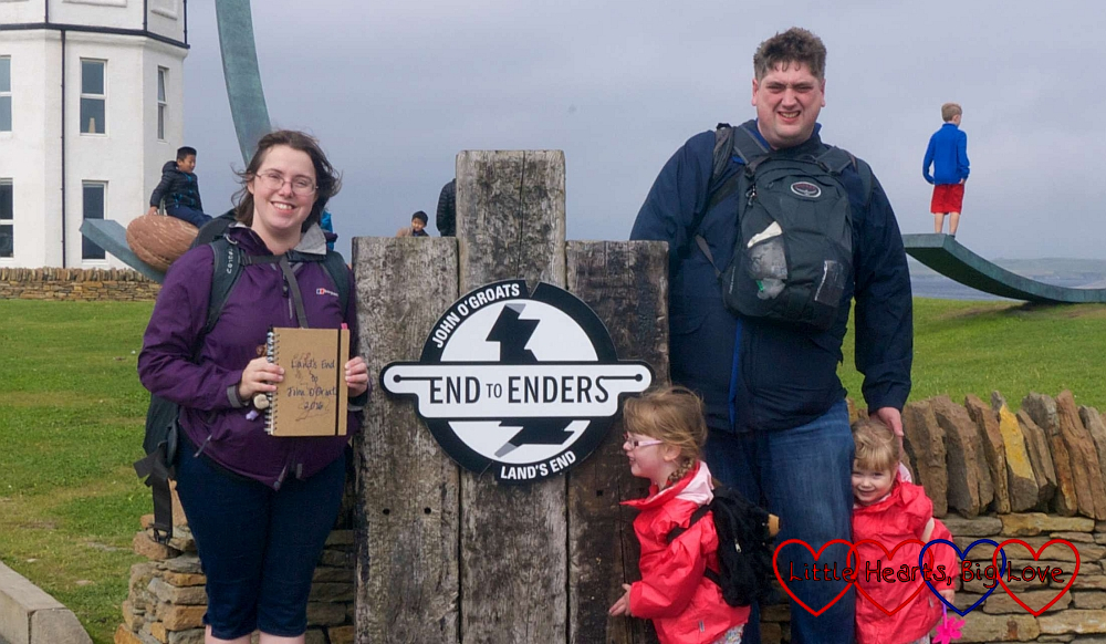 "Me, hubby, Jessica and Sophie at the ""End to Enders"" sign at John O'Groats"