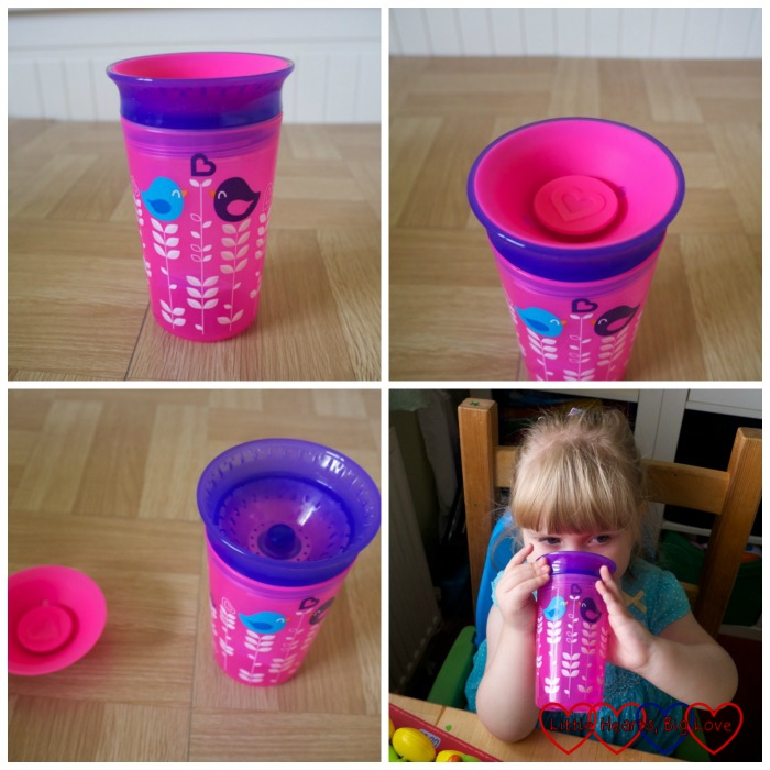 Four photos - top left looking at the Miracle 360 sippy cup from the front with the bird design visible; top right - showing the lid of the sippy cup and the 360 degree rim; bottom left - the insert removed from the lid of the sippy cup; bottom right - Sophie drinking from the Miracle 360 sippy cup