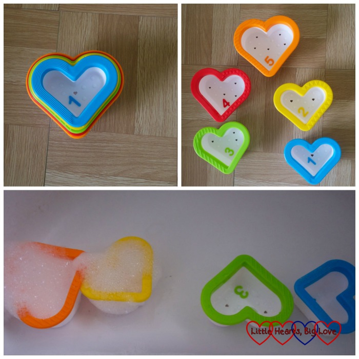 Hearts Bath Toy - top left - the hearts nested together; top right - the five heart cups laid out; bottom - the heart cups on the edge of the bath filled with bubbles