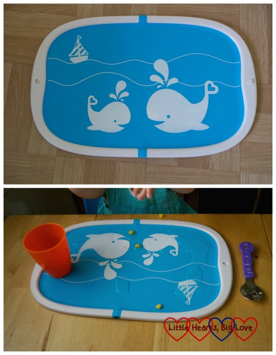 The Go Folding placement - top photo shows the placemat and the second one has spilled food and drink on it.