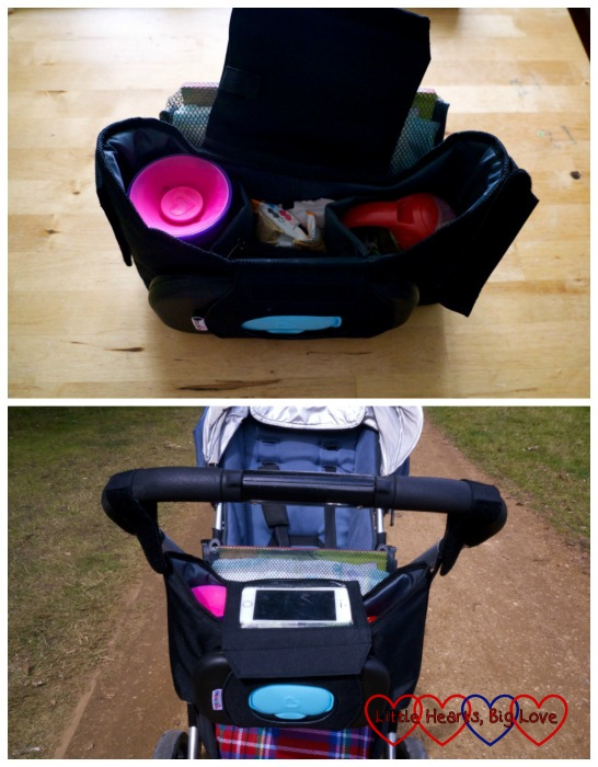 Top photo - the main compartment of the Pushchair Organiser Plus showing drinks and space for snacks and the bottom photo showing the Puschair Organiser Plus attached to a buggy with the mobile phone pocket at the top