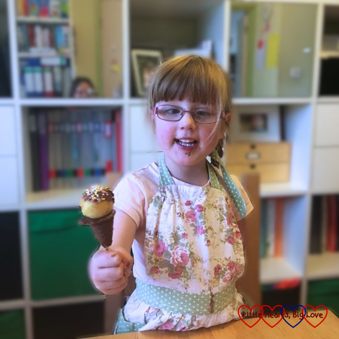 Jessica with her cake pop on a chocolate cone