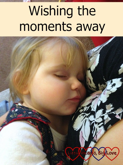 """A much smaller Sophie having snuggles with Mummy - """"Wishing the moments away"""""""