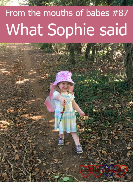 "Sophie in the woods with her fairy wings and magic wand with the text ""From the mouths of babes #87 - What Sophie said"""
