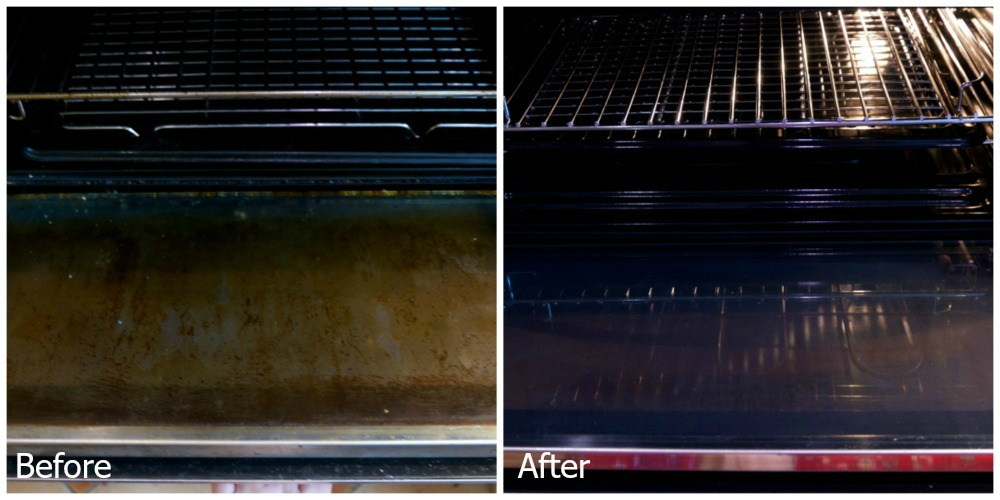The top oven - before and after shots showing a very dirty glass door before and a very clean one afterwards
