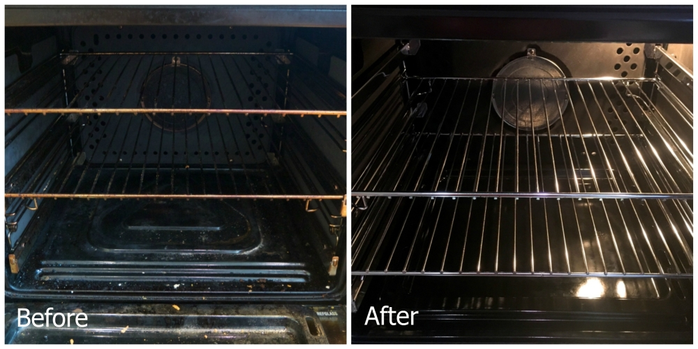 The inside of my main oven - before (very dirty) and after (very clean)