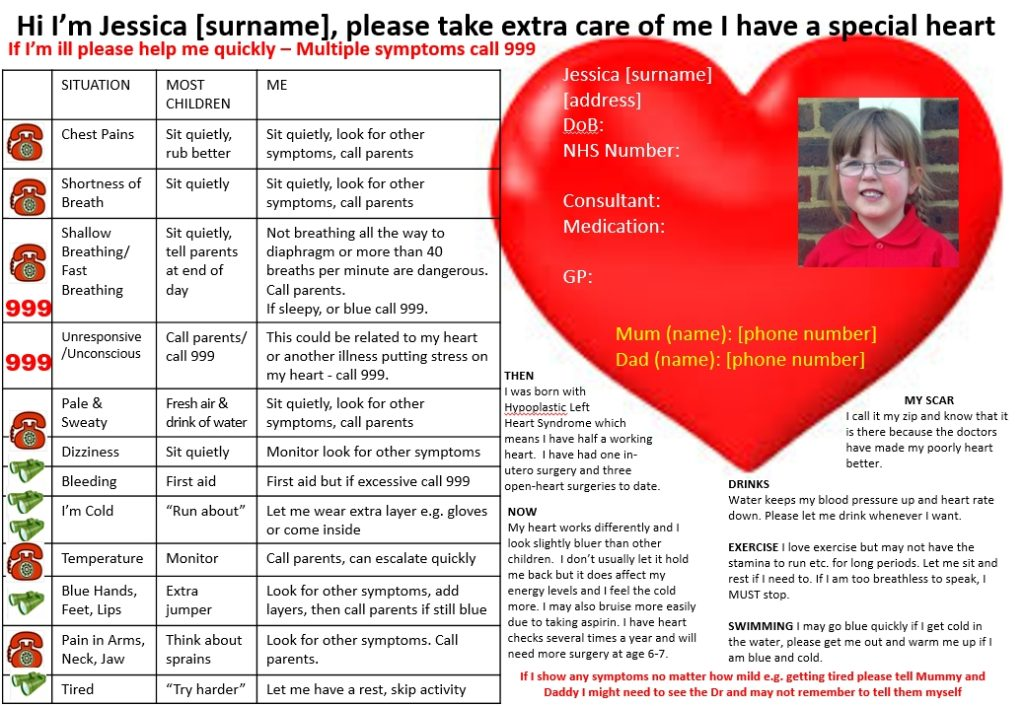 The information sheet I used to help inform the school of my daughter's needs and what concerns to be aware of
