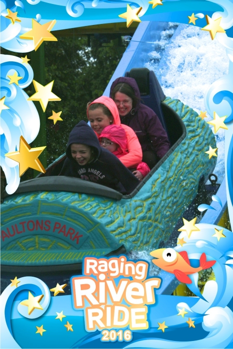 Me, Erin, Ebony and Jessica on the Raging River log flume ride